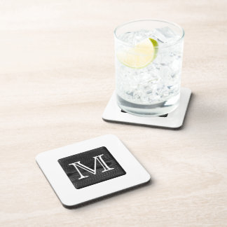 Your Letter Monogram. Picture of Black Wood. Coasters
