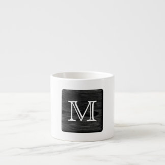 Your Letter Monogram. Picture of Black Wood. Espresso Cup