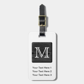 Your Letter Monogram. Picture of Black Wood. Travel Bag Tags