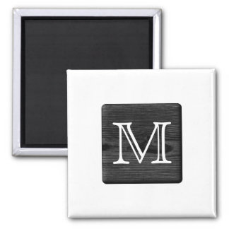 Your Letter Monogram. Picture of Black Wood. Magnet