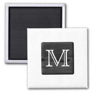 Your Letter Monogram. Picture of Black Wood. Fridge Magnets