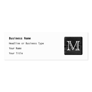 Your Letter Monogram. Picture of Black Wood. Mini Business Card