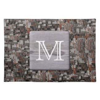 Your Letter Monogram. Picture of Wood and Pattern. Placemats