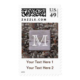 Your Letter Monogram. Picture of Wood and Pattern. Postage Stamps