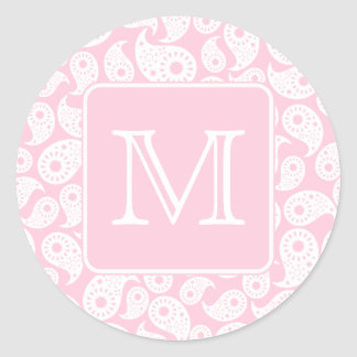 Your Letter Monogram. Pink Paisley Pattern. Classic Round Sticker