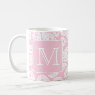 Your Letter Monogram. Pink Paisley Pattern. Coffee Mug