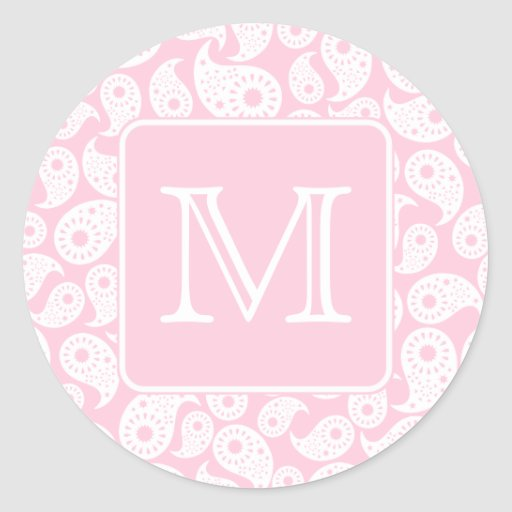 Your Letter Monogram. Pink Paisley Pattern. Round Sticker