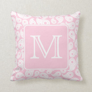 Your Letter Monogram. Pink Paisley Pattern. Throw Pillow