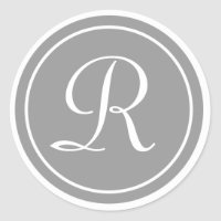 Your Letter, Monogram R, Initial Gray Classic Round Sticker