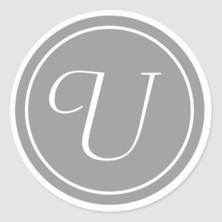 Your Letter, Monogram U, Initial Grey Classic Round Sticker