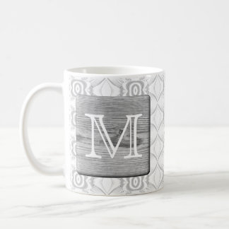 Your Letter. Picture of Gray Wood and Pattern. Coffee Mug
