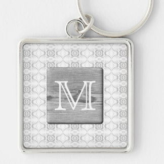 Your Letter. Picture of Gray Wood and Pattern. Keychains