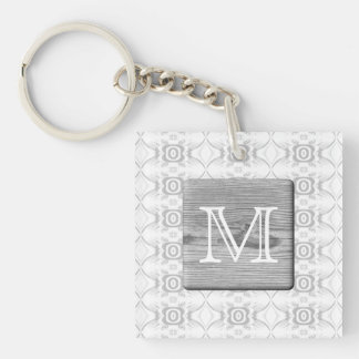 Your Letter. Picture of Gray Wood and Pattern. Acrylic Keychain