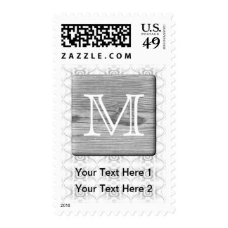 Your Letter. Picture of Gray Wood and Pattern. Postage Stamp