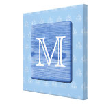 Your Letter. Picture of Wood in Blue. Nautical. Gallery Wrapped Canvas