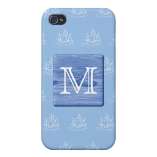 Your Letter. Picture of Wood in Blue. Nautical. Cover For iPhone 4