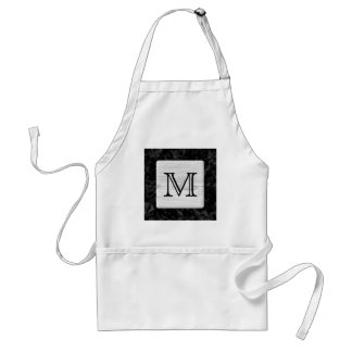 Your Letter. Picture of Wood on Black Pattern. Adult Apron