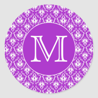 Your Letter. Purple and White Damask Pattern. Classic Round Sticker