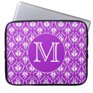 Your Letter. Purple and White Damask Pattern. Computer Sleeve