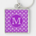 Your Letter. Purple and White Damask Pattern. Key Chain