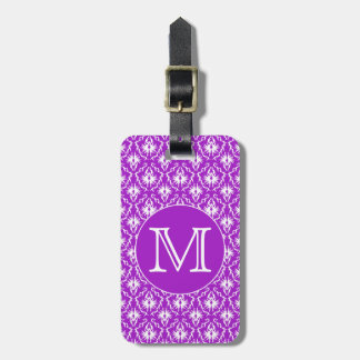 Your Letter. Purple and White Damask Pattern. Travel Bag Tag