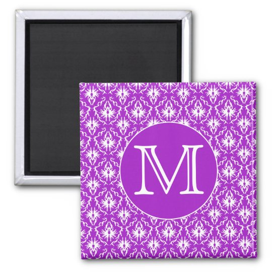 Your Letter. Purple and White Damask Pattern. Magnet
