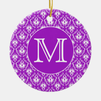 Your Letter. Purple and White Damask Pattern. Christmas Tree Ornaments