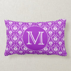 Your Letter. Purple and White Damask Pattern. Pillow