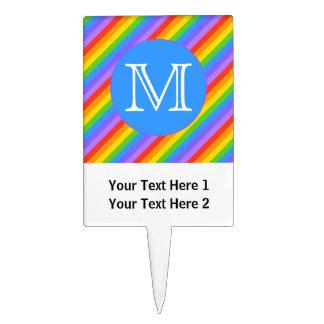 Your Letter, Rainbow Stripes Monogram. Rectangular Cake Picks