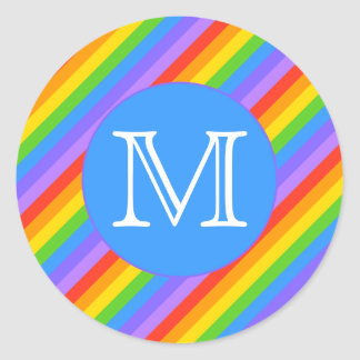 Your Letter, Rainbow Stripes Monogram. Classic Round Sticker