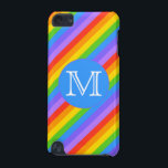 "Your Letter, Rainbow Stripes Monogram. iPod Touch (5th Generation) Case<br><div class=""desc"">A pattern of bright and colorful rainbow stripes with a monogram letter on a blue circle. The monogram initial can be personalized.</div>"
