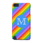 Your Letter, Rainbow Stripes Monogram. iPod Touch (5th Generation) Case<br><div class='desc'>A pattern of bright and colorful rainbow stripes with a monogram letter on a blue circle. The monogram initial can be personalized.</div>