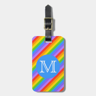 Your Letter, Rainbow Stripes Monogram. Luggage Tag