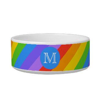 Your Letter, Rainbow Stripes Monogram. Cat Bowls