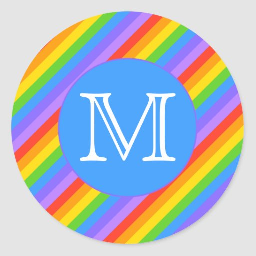 Your Letter, Rainbow Stripes Monogram. Classic Round Sticker