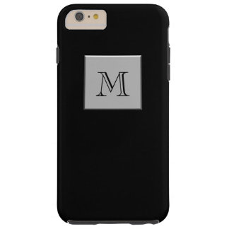 Your Letter Your Monogram Silver Black Tough iPhone 6 Plus Case