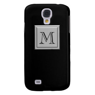 Your Letter. Your Monogram. Silver Black Galaxy S4 Case