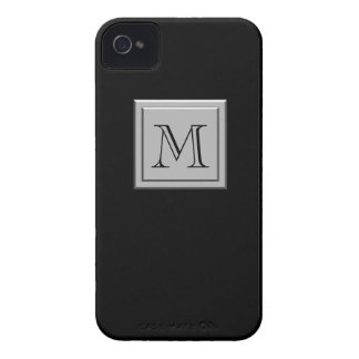 Your Letter. Your Monogram. Silver Black iPhone 4 Case-Mate Case