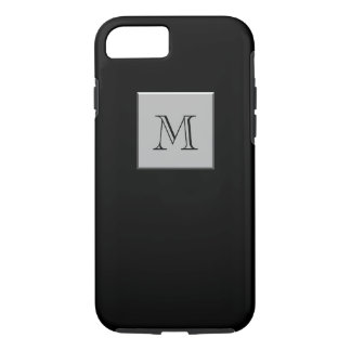 Your Letter Your Monogram Silver Black iPhone 7 Case