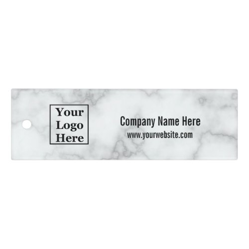 Your Logo Here | Custom Text on Faux White Marble Ruler
