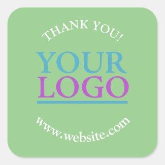 Your Logo, Name & Website Promo Sage Square Sticker