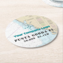 Your Logo Nautical Chart Gulf Coast Florida Round Paper Coaster