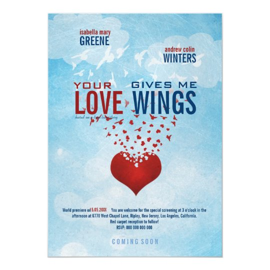 Your Love Gives Me Wings Movie Poster Wedding Invitation Zazzle Com