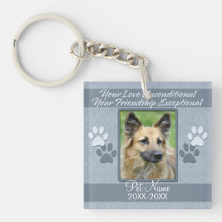 Your Love Unconditional Pet Sympathy Custom Double-Sided Square Acrylic Keychain