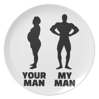 Your man my man husband party plate