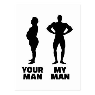 Your man my man husband postcard