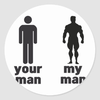 Your man vs my man classic round sticker