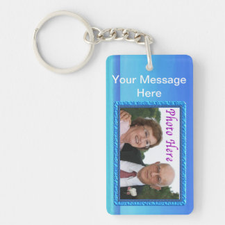 Your Message and Photo Keychain Framed Beach Back