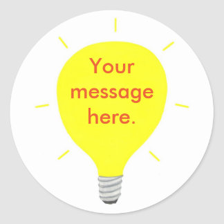 Your Message Here Yellow Light Bulb Stickers