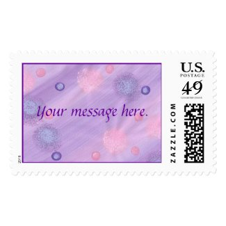Your message, purple and pink on lavender stamps